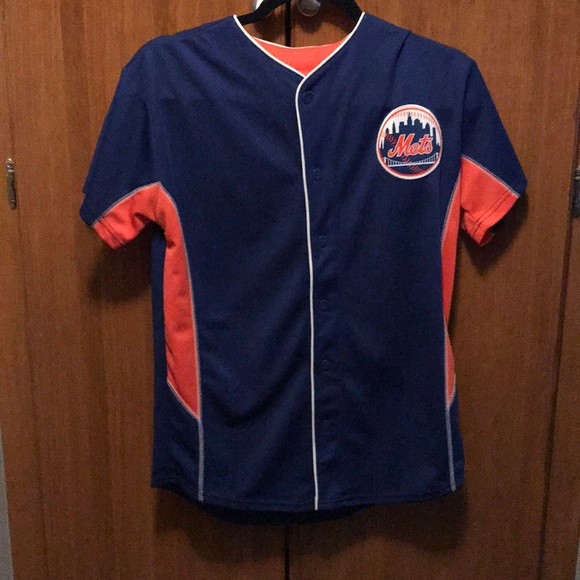 quality design 88a32 a8e7d Boys mets jersey large 14-16 majestic